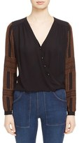 Veronica Beard Women's Embroidered Silk Surplice Blouse