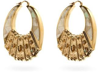 Etro Crescent Moon Pearl & Metal Hoop Earrings - Silver Gold