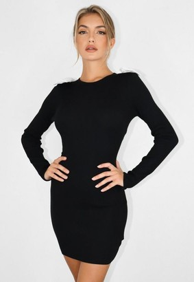 Missguided Black Double Cotton Bow Knit Dress