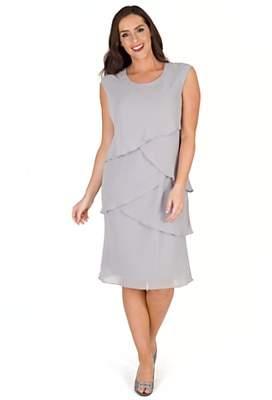 chesca Chesca Layered Chiffon Dress, Silver Grey