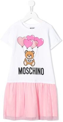 MOSCHINO BAMBINO mesh skirt T-shirt dress