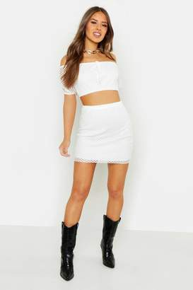boohoo Petite White Mesh Off The Shoulder Top & Skirt Co-ord