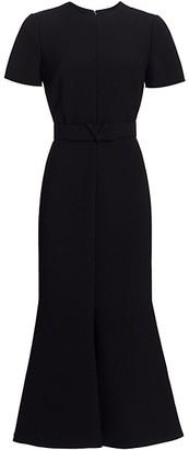 Valentino Short Sleeve Trumpet Midi Dress