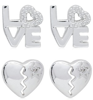 Link Up 2-Piece Set Love and Broken Heart Sterling Silver Stud Earrings