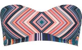 Jets Striped Bandeau Bikini Top