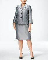 Le Suit Plus Size Three-Button Herringbone Skirt Suit