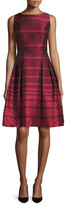 Carmen Marc Valvo Sleeveless Scalloped Jacquard Cocktail Dress, Red