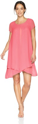 NY Collection Women's SLD Cap SLV Scoop Nklayered Dress W Key Hole at Center Back