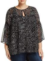 Lucky Brand Plus Bell Sleeve Paisley Print Top