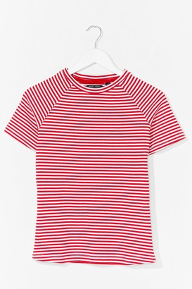 Nasty Gal Womens That's Stripe Crew Neck Fitted Tee - Red
