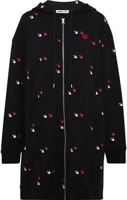 McQ Appliqued Printed French Cotton-terry Hooded Mini Dress