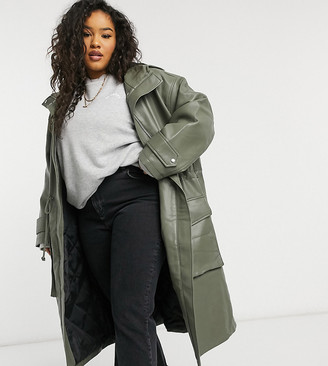 ASOS DESIGN Curve leather look oversized parka with quilted lining in khaki