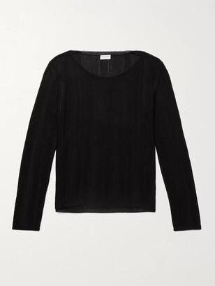 Saint Laurent Metallic Ribbed-Knit Sweater - Men - Black