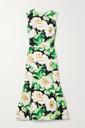 Oscar de la Renta Floral-print Faille Midi Dress - Green