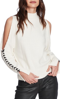 1 STATE Cold Shoulder Cable Knit Sweater
