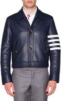 Thom Browne Harrington Leather Jacket with Stripes, Navy