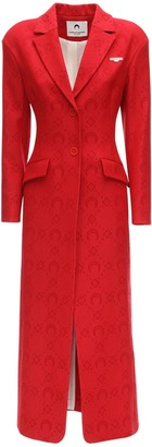 Marine Serre Monogram Jacquard Wool Long Coat