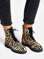 River Island Printed Leather Lace Up Hiker Boots - Brown