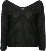 Rochas V-neck lace top - women - Polyester - 42