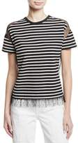 RED Valentino Point d'Esprit-Inset Striped T-Shirt