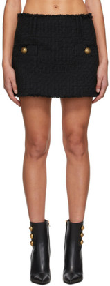 Balmain Black Tweed Trapeze Skirt