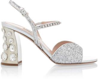 Miu Miu Embellished Glitter Block-Heel Sandals Size: 35