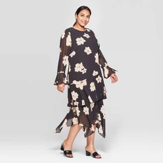Who What Wear Women's Plus Size Long Sleeve Boat Neck Tiered Ruffle Hem A Line Midi Dress - Who What WearTM