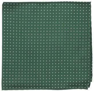 Tie Bar Mini Dots Hunter Green Pocket Square