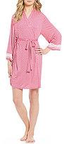 Oscar de la Renta Floral Jersey Wrap Robe
