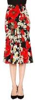 Dolce & Gabbana Poppy & Daisy Flounce Skirt, Red/Black/White