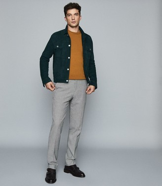 Reiss Jinks - Wool Cashmere Blend Crew Neck Jumper in Camel
