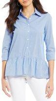 Westbound Petites Button Front Peplum Shirt