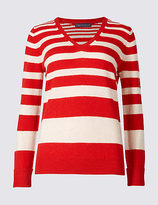 M&S Collection Lambswool Rich Striped V-Neck Jumper