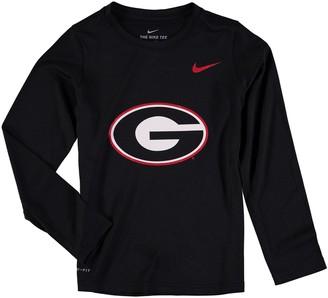 Nike Youth Heathered Black Georgia Bulldogs Legend Logo Long Sleeve Performance T-Shirt