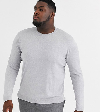 Asos DESIGN Plus crew neck cotton sweater in gray