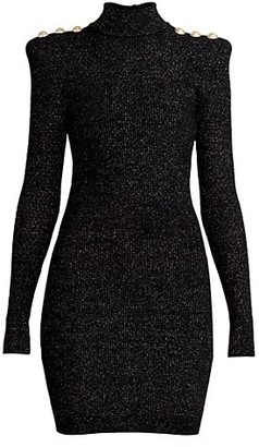 Balmain Ribbed Lurex Mockneck Knit Dress