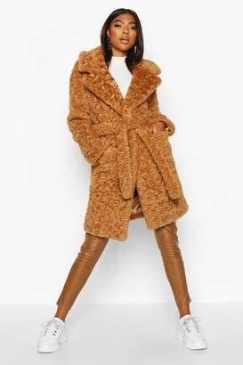 boohoo Tall Belted Faux Fur Teddy Coat
