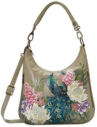 Anuschka Convertible Slim Hobo with Crossbody Strap 662 (Caribbean Garden) Handbags