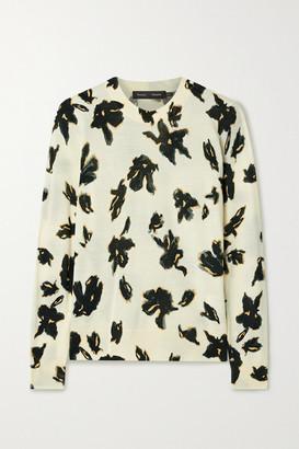 Proenza Schouler Floral-print Merino Wool Sweater - Ecru