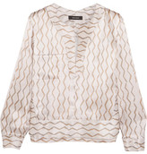 Isabel Marant Simon Printed Hammered Silk-satin Blouse - Ecru