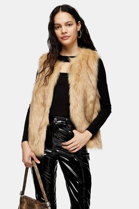 Topshop Womens Camel Tipped Faux Fur Gilet - Camel