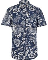 River Island Blue Hawaiian Print Short Sleeve Shirt