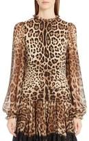 Dolce & Gabbana Leopard Print Stretch Cady Blouse