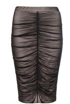 Quiz Black Mesh Ruched Front Midi Skirt
