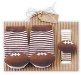 Mud Pie Infant Football Socks & Wrist Rattle Set