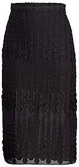 Akris Punto Women's Dot Embroidered Slit Midi Skirt