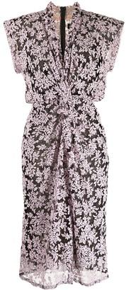 Tadashi Shoji Floral-Embroidered Draped Dress