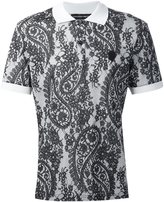 Alexander McQueen paisley and lace print polo shirt