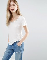 Vila Short Sleeve T-Shirt With Embellished Neckline