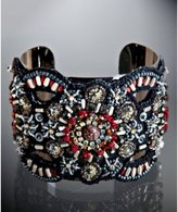 black embroidered, bead, and sequin wide cuff